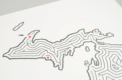 Michigan Map State Maze Print | Upper Lower Peninsula | David Birkey for Imaginary Animal