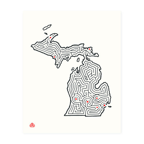 8x10 Michigan Maze Print hand-designed by David Birkey