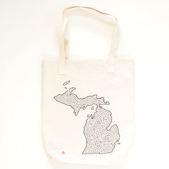 Michigan State Maze Map Canvas Tote Bag