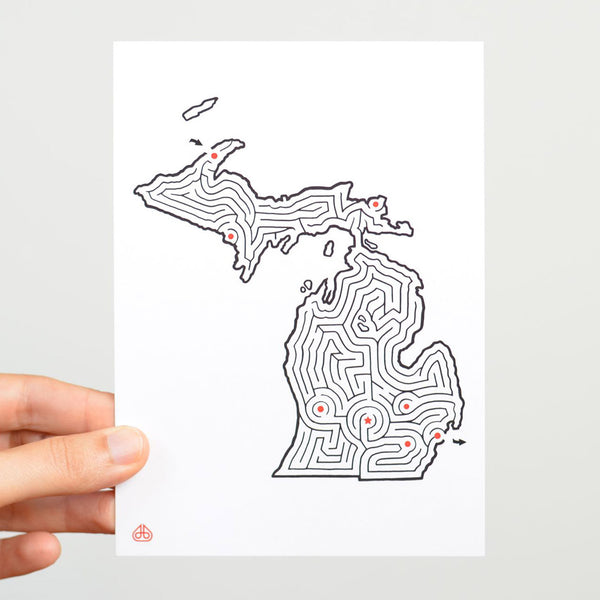 Michigan Maze Postcard designed by David BIrkey | imaginaryanimal.com