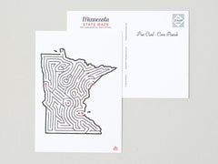 Minnesota Maze Postcard designed by David Birkey | imaginaryanimal.com