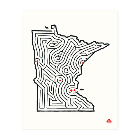 Minnesota Maze Print Hand Designed by David Birkey