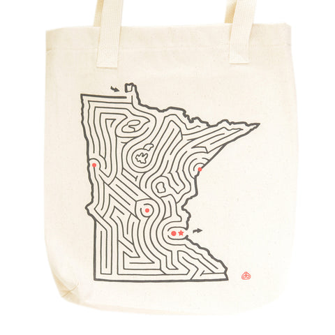 Minnesota State Maze Map Canvas Tote Bag