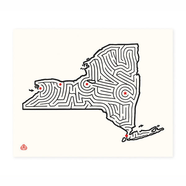 New York Map Maze Print © David Birkey