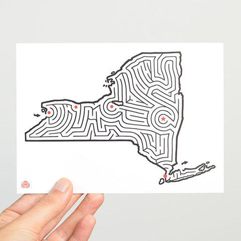 New York Maze Postcard designed by David Birkey | imaginaryanimal.com