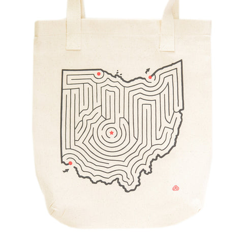 Ohio State Maze Map Canvas Tote Bag