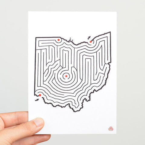 Ohio Map Maze Postcard © David Birkey | imaginaryanimal.com