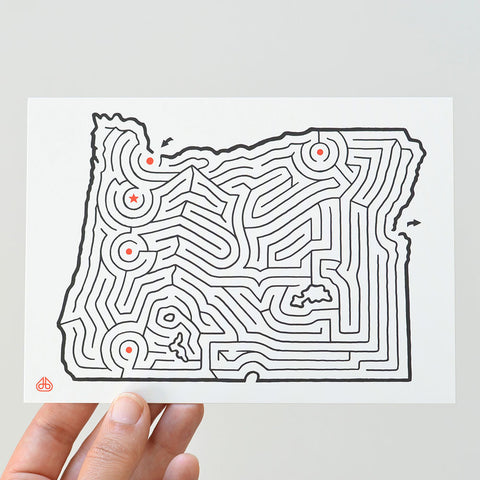 Oregon Map Maze Postcard