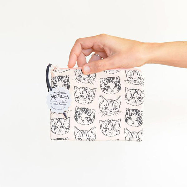 Cute Cats Small Flat Pouch | Peach/Grey