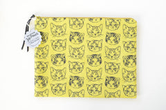 Cute Cats Large Flat Pouch | Mustard/Green-Gold