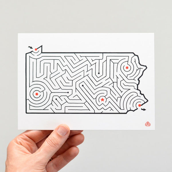 Pennsylvania Map Maze Postcard Front