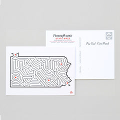 Pennsylvania Map Maze Postcard Front and Back