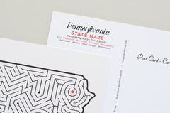 Pennsylvania Map Maze Postcard Detail