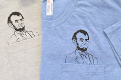 Mens Pocket Abe Tee | Heather Grey or Athletic Blue