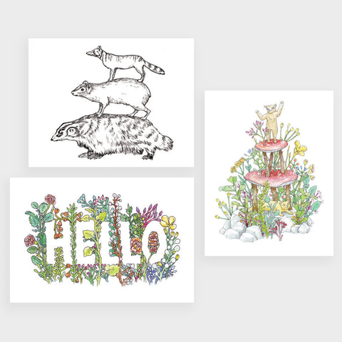 Postcard Set | 3 Plant & Animal Drawings by Marie Gardeski