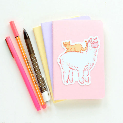 Cute Llama and Cat Sticker