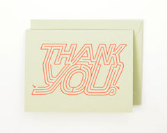 Thank You Maze Greeting Card and Matching Envelope | Sage