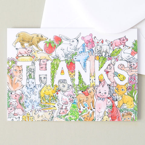 Thanks Greeting Card | Humorous Illustration by Marie Gardeski