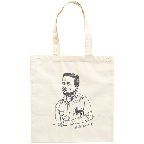 Think About It Cotton Canvas Tote Bag
