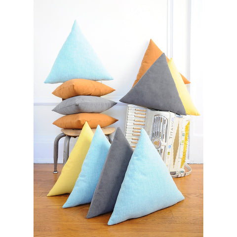 Triangle Pillow With Removable Washable Cover | Aqua Blue | Geometric Decor