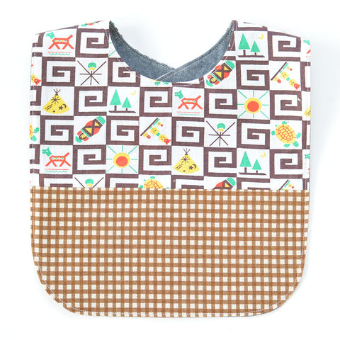 Southwest Brown Gingham Vintage Fabric Bib | www.imaginaryanimal.com