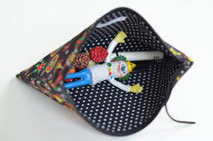 Vintage Fabric Zipper Pouch | Folksy Brights on Black