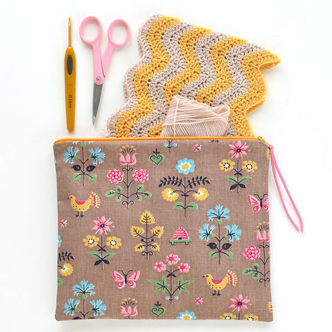 Vintage Fabric Zipper Pouch
