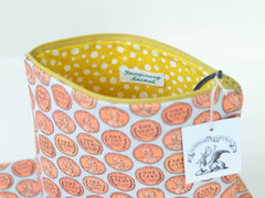 Large Wheat Back Penny Zipper Pouch | Flat or Boxy