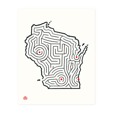 8x10 Wisconsin Maze Print designed by David Birkey
