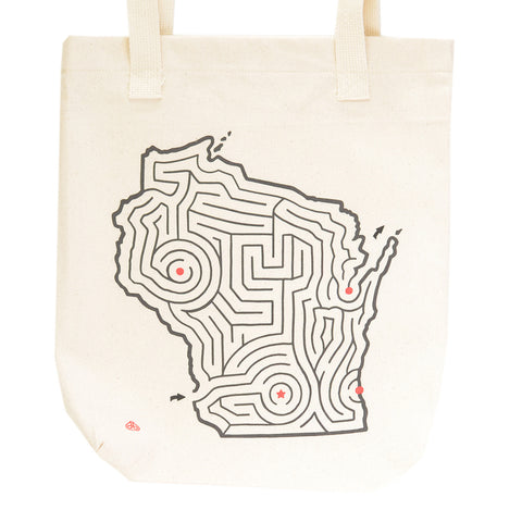 Wisconsin State Maze Map Canvas Tote Bag
