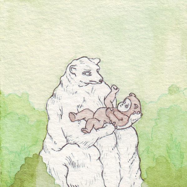 Baby Bear | Miniature Watercolor Drawing by Marie Gardeski