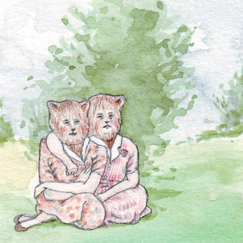 BFF | Miniature Watercolor Drawing by Marie Gardeski