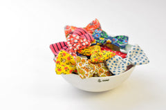 Bowl of Mini Bows | Mini Bow Barrette/Brooch | Vintage Aqual Floral Fabric | Cute Hair Accessory