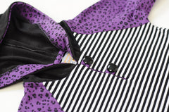 Handmade One of a Kind Hoodie | 1T | Purple and Black Cheetah Stripes