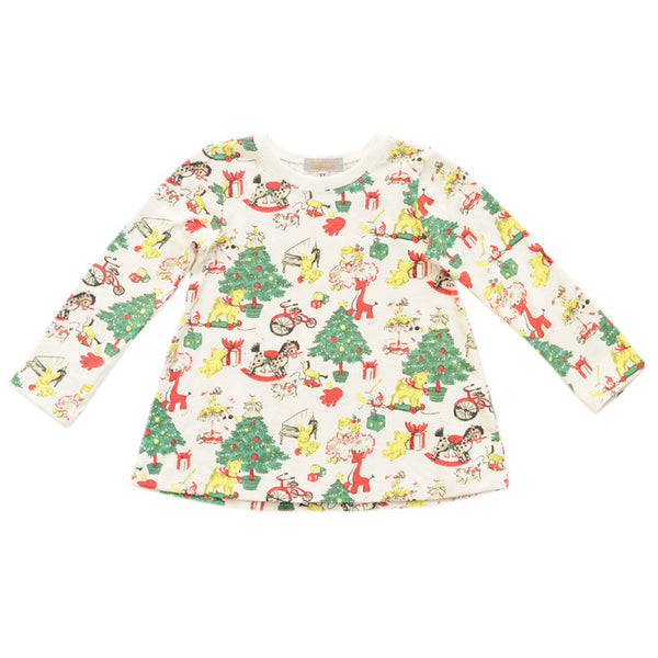 Handmade Girls Christmas Tunic - Super Soft Retro Fabric - 3T