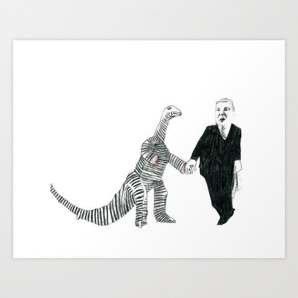 Fine Art Print of Dinosaur plus Businessman Equals Love by Marie Gardeski