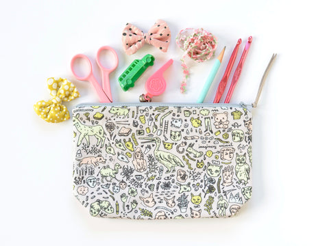 Doodletown Zipper Pouch | Medium Boxy | Original Fabric Design | Grey / Pink / Mint