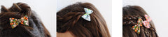 Mini Bow | Vintage Grey Green Floral | Barrette or Brooch