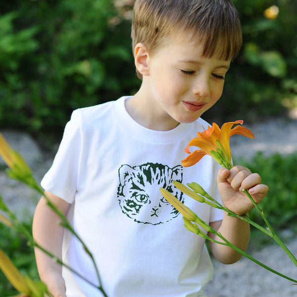 Kids Kitty Tee | Green/White