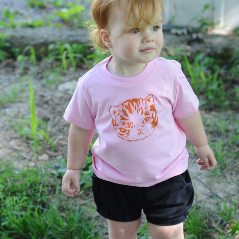 Kids Pink Kitten Tee | Hand Printed Cute Cat for Stylish Girls