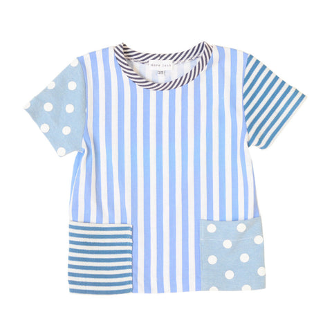 Kids Striped Tee | Blue | Handmade, One-of-a-Kind, Stylish and Up-Cycled
