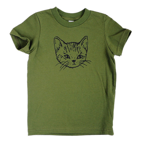 Kids Kitty Cat Tee | Olive Green with Cute Black Kitten Screen Print
