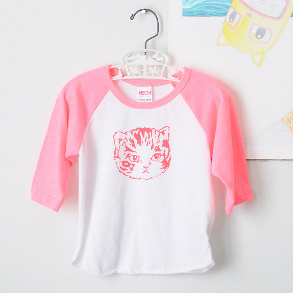 Girls Neon Pink Kitty Tee | Raglan Sleeves with Bright Cat Print