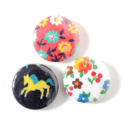 Vintage Fabric Magnets | Pony Flowers | Handmade with Tiny Floral Calico
