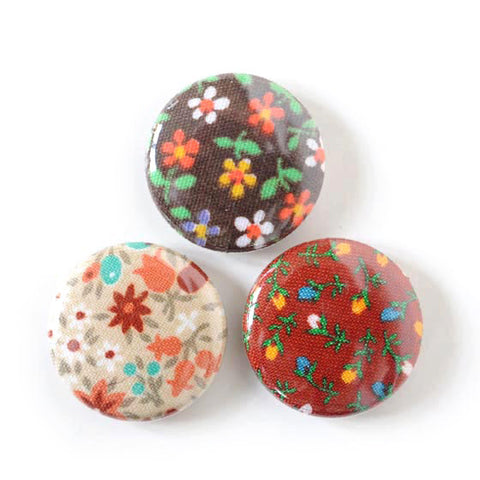 Vintage Fabric Magnets | Browns | Handmade with Tiny Floral Calico