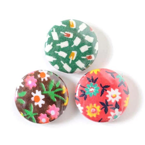 Vintage Fabric Magnet Set | Popsicle Flowers