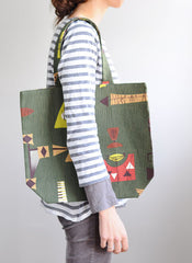 Women in Striped top with Retro Tote Bag | Tote Bag | Retro Green | Quality Handmade, Unique and Sturdy