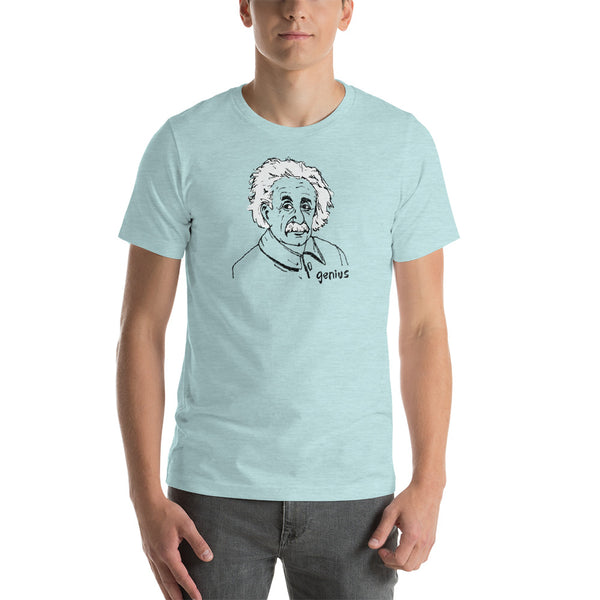 Genius Albert Einstein Short-Sleeve Unisex T-Shirt | Funny Hand-Drawn Illustration