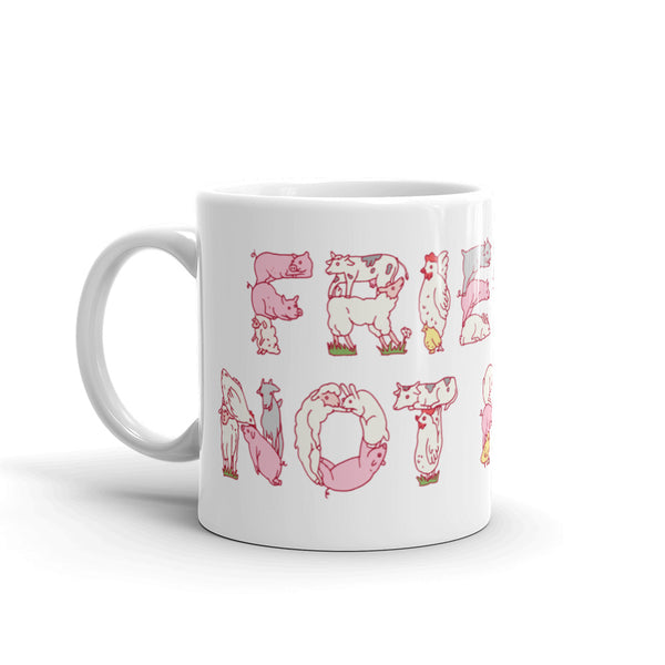 Friends Not Food | Funny Vegan/Vegetarian Coffee Mug with Farm Animal Lettering