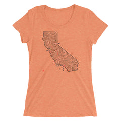 Ladies' California Map Maze Fitted T-Shirt | San Francisco to Lake Tahoe